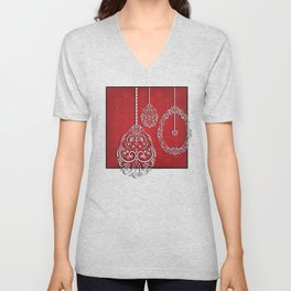 Silver lace hanging eggs on vibrant red background Unisex V-Neck