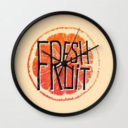 Orange fresh fruit illustration quotes Wall Clock