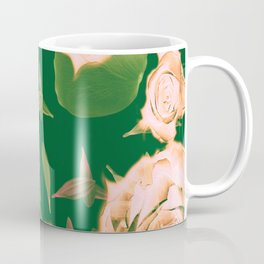 Emerald & Vintage Pink Roses & Petals Coffee Mug