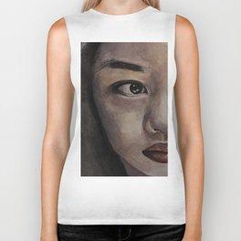 Art, watercolor portrait asian girl Biker Tank