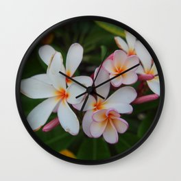 Plumeria Blooms Wall Clock