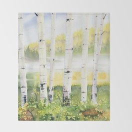Behind The Birch Trees Throw Blanket