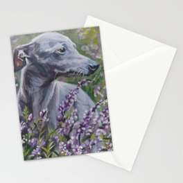 Italian Greyhound dog art from an original painting by L.A.Shepard Stationery Cards