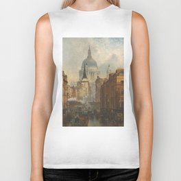 London skyline, view of St Paul's Cathedral and Fleet Street, illustration from Victorian era Biker Tank