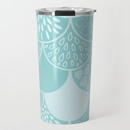 Abstract blue scales doodle vector repeating pattern Travel Mug