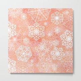 Snowflakes - Peach Metal Print