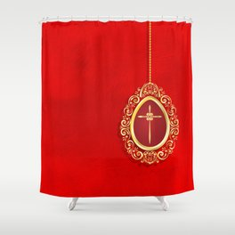 Beautiful red egg with gold cross on rich vibrant texture Shower Curtain
