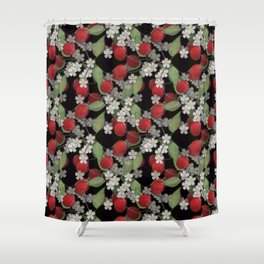 Cherry Charm, Imitation of glass Shower Curtain