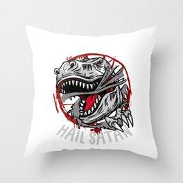 Bite People Hail Satan I Gothic Pentagram Dinosaur print Throw Pillow