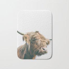 Majestic Highland cow portrait Bath Mat