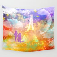 eiffel Wall Tapestries featuring space Eiffel  by haroulita