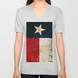 Texas Flag on Rusted Metal Sheet Unisex V-Neck