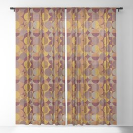 Modern Geometric Pattern in Fall Colors Sheer Curtain