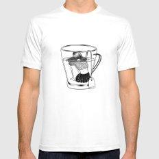 Tea Time White Mens Fitted Tee MEDIUM