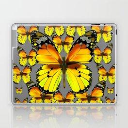 CLUSTER YELLOW-BROWN  BUTTERFLIES GREY  DESIGN Laptop & iPad Skin