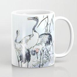 Antique Japanese Woodblock Print Art By Kono Bairei - Five Cranes Standing In The Swamp Water  Coffee Mug