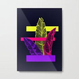 Neon Leaves Metal Print