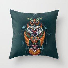 Wisdom Of The Owl King Throw Pillow