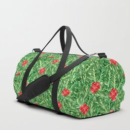 Holly Jolly Christmas Leaves & Berries (Small Pattern) Duffle Bag