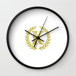 Mustard Yellow Monogram: Letter K Wall Clock