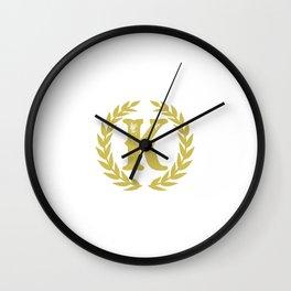 Mustard Yellow Monogram: Letter K Wall Clock