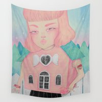 loll3 Wall Tapestries featuring Dollhouse by lOll3