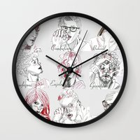 les miserables Wall Clocks featuring Les Amis by Pruoviare