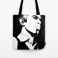 bowie Tote Bags featuring Bowie by Tikwid
