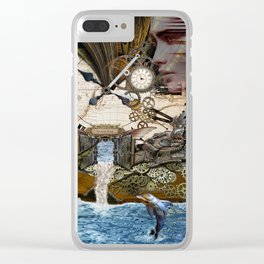 Steampunk Ocean Dragon Library Clear iPhone Case