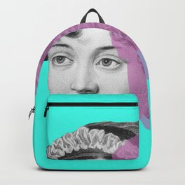 Jane Austen pop blue purple Backpack