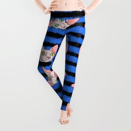 sphynx cats on blue and black Leggings