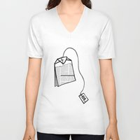 literary V-neck T-shirts featuring Literary Tea by Lizzi Davis