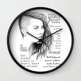 Feminist Quote Art Empowered Women Wall Clock