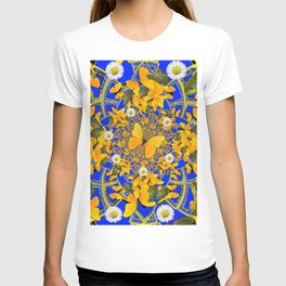 GREEN FROGS & BUTTERFLY WHITE DAISIES BLUE MANDALA T-shirt