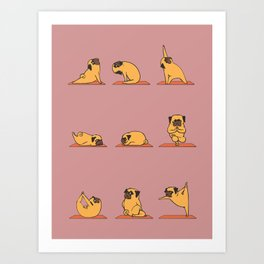 Pug Yoga In Pink Art Print