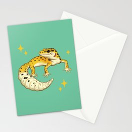 Sparkly Leopard Gecko Stationery Cards