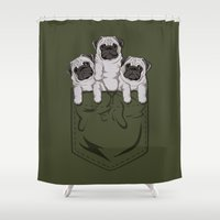 pocket Shower Curtains featuring Pocket Pug by Kellabell9
