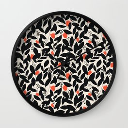 Wildflower Vines in Black and Red Wall Clock