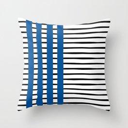 Stripes Pattern Modern Black White and Blue Striped Print  Throw Pillow