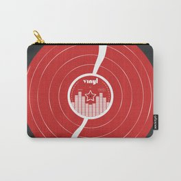 Retro Vinyl Record in Red and White Carry-All Pouch
