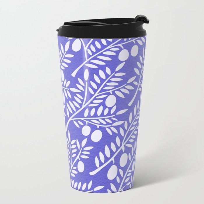 Olive Branches – Periwinkle Metal Travel Mug