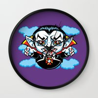 cunt Wall Clocks featuring Cunt Dracula by harebrained