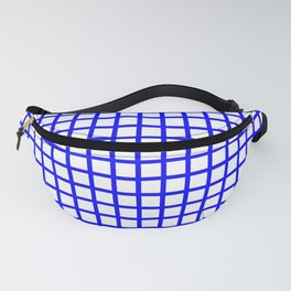 Crossed lines blue on white background - RHT420 Fanny Pack