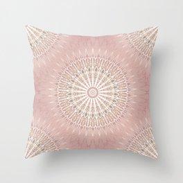Rose Tan Geometric Mandala Throw Pillow