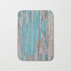 Rustic turquoise weathered wood shabby style Bath Mat