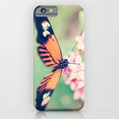 Orange and Black Butterfly on Pink Flowers iPhone 6s Slim Case