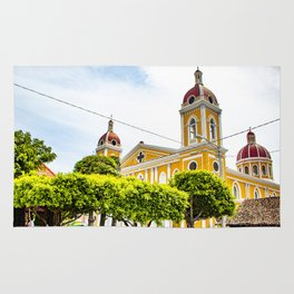 View of Granada Cathedral at the Center of Parque Central De Granada in Nicaragua Rug