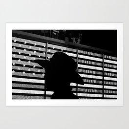 Shadow of Head on the Flag of America Art Print