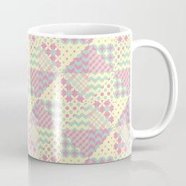 Yellow, Green & Pink Patchwork Pattern with Triangles Coffee Mug