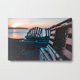 Lobster traps in front of an atlantic sunset Metal Print